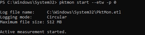 pktmon start запустить сбор сетевых пакетов