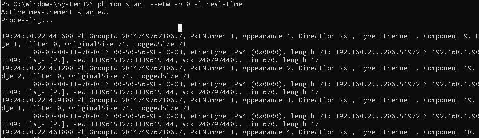 PktMon трафик в реальном времени real-time