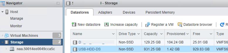 подключение внешнего usb диска к серверу esxi