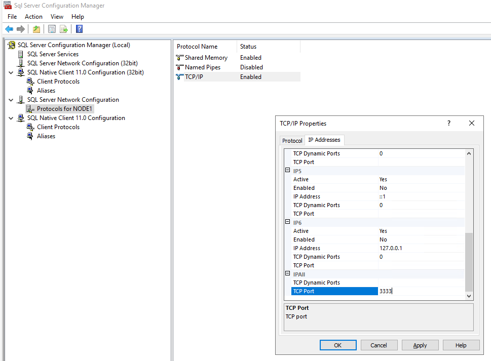 змінити номер порту sql server на інший статичний