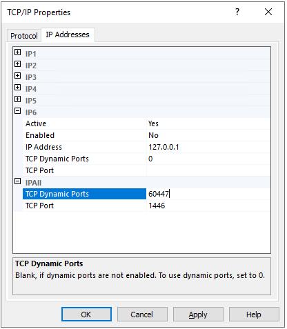 TCP Dynamic Ports в sql server