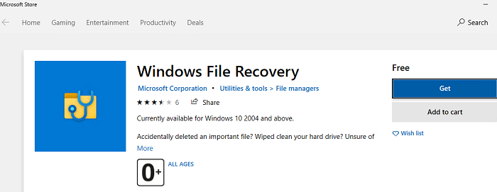 установка Windows File Recovery из Microsoft Store