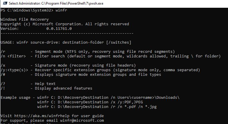 утилита winfr в Windows 10 для восстановления файлов