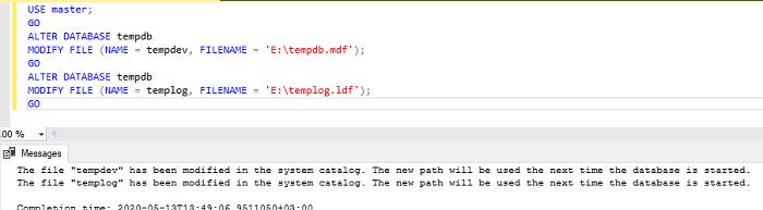 восстановление tempdb в sql server