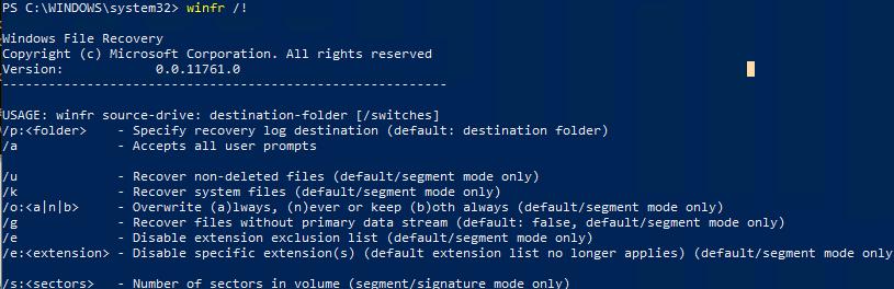 winfr - расширенные опции восстановления файлов