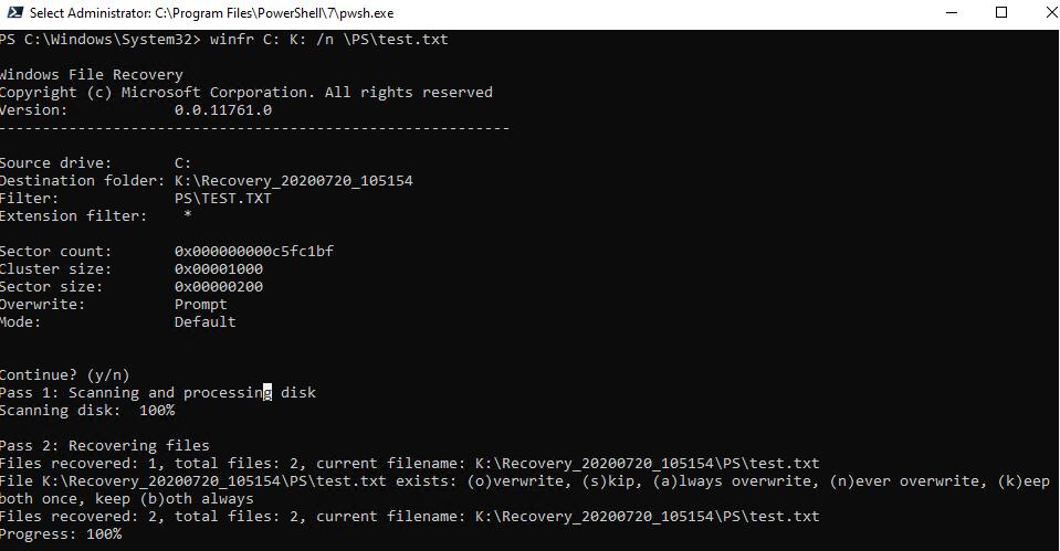 winfr - сканирование диска, востановление удаленных файлов