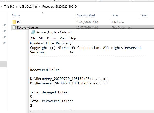 журнал восстановления файлов в windows file recovery