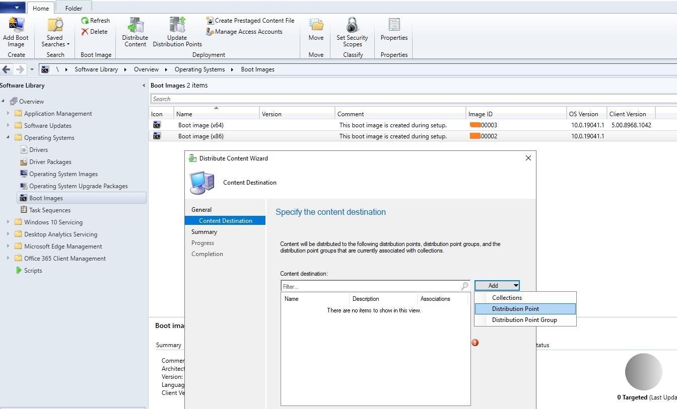 добавление загрузочного образа в sccm для сетевой установки