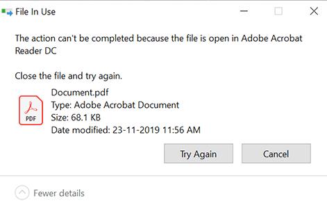 Файл уже используется. Операция не может быть завершена, так как файл или папка открыта в другой программе. Закройте файл и повторите попытку.