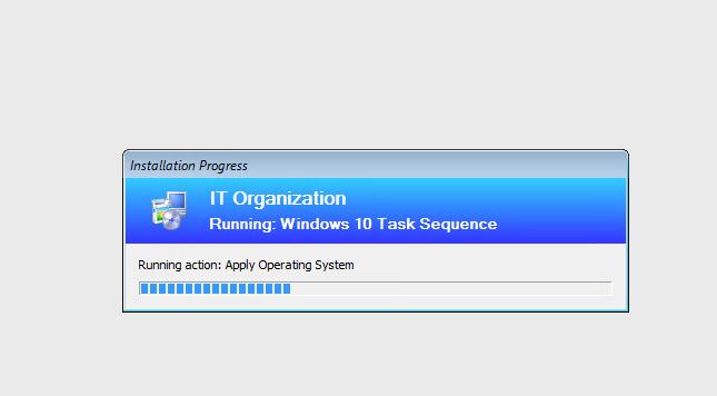 идет сетевая установка windows 10 через task sequence sccm