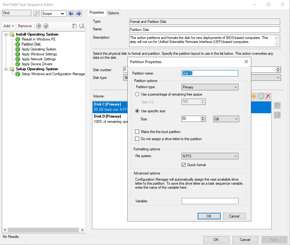 настройка разделов диска при сетевой установке Windows 10