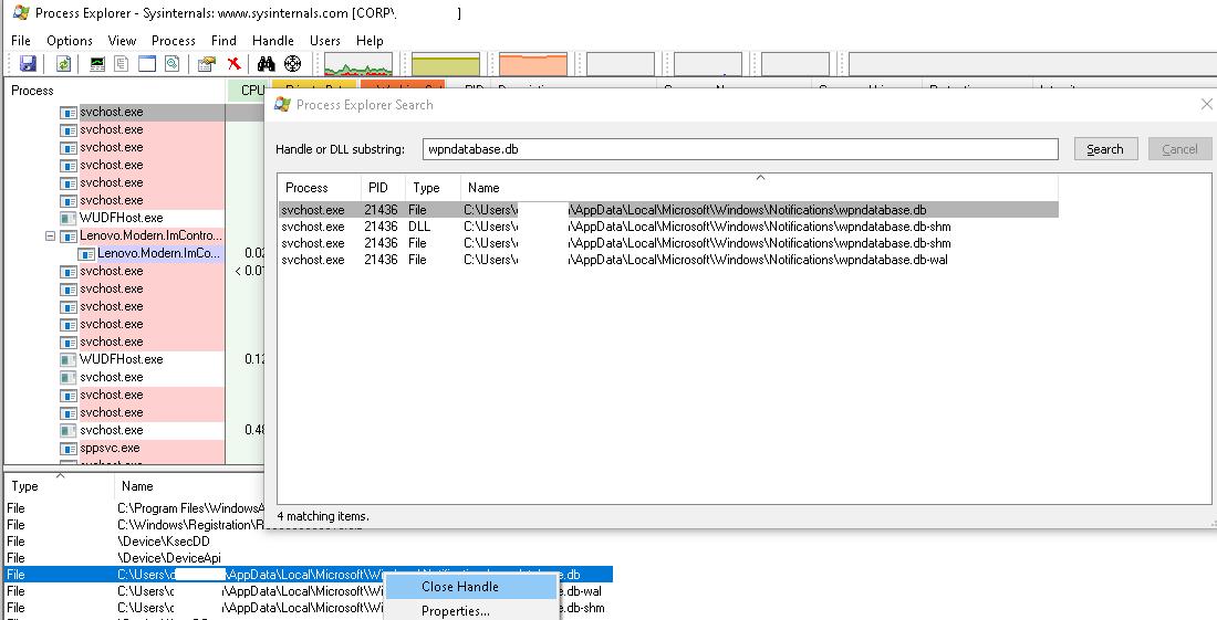 process explorer знайти і завершити дескриптор процесу