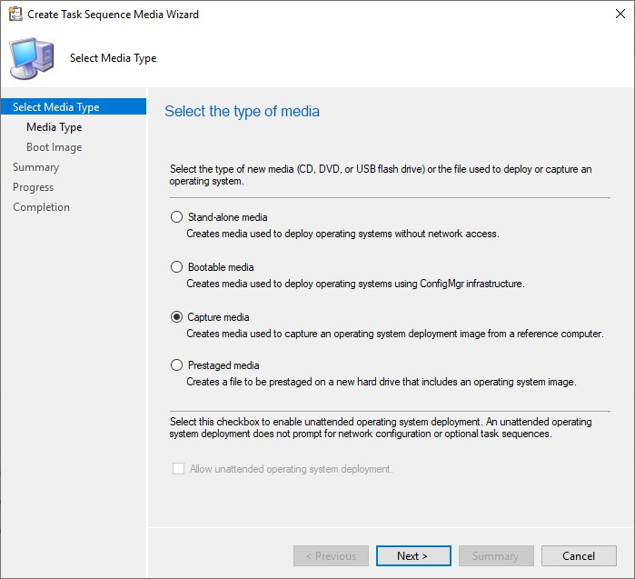 создать образ для захвата установленной windows 10 (Capture media )