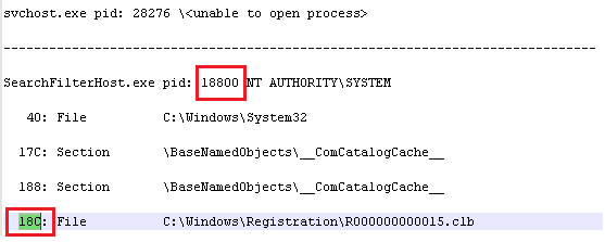 список відкритих дескрипторів файлів в windows