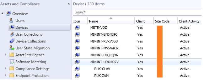 список развернутых компьютеров с win 10 в консоли sccm