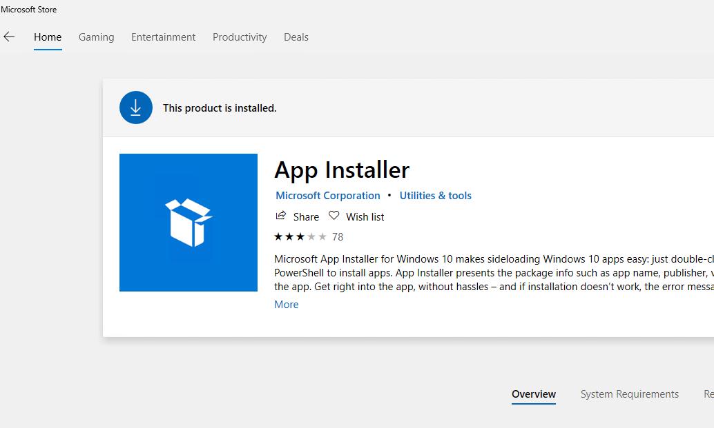 установка winget (App Installer) через магазин Windows 10