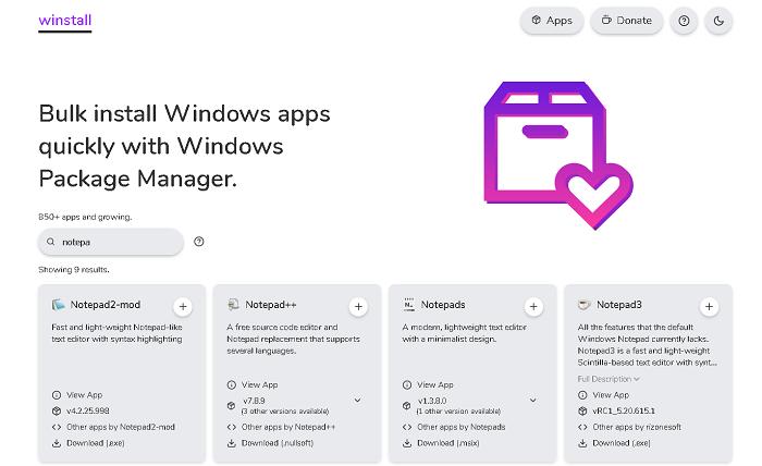 winstall.app сайт со списком пакетов для winget