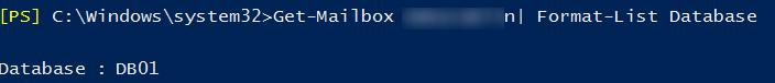 Get-Mailbox Database - определить базу в которой находится ящик пользователя