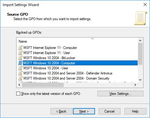 GPO MSFT Windows 10 2004 – Computer