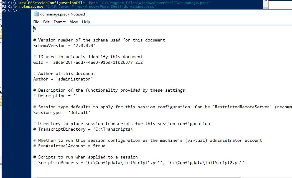 New-PSSessionConfigurationFile pssc конфигурационный файл Just Enough Administration