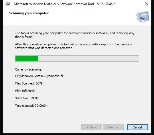 проверка компьютера с помощью средства удаления вредоносных программ Windows (MRT.exe)