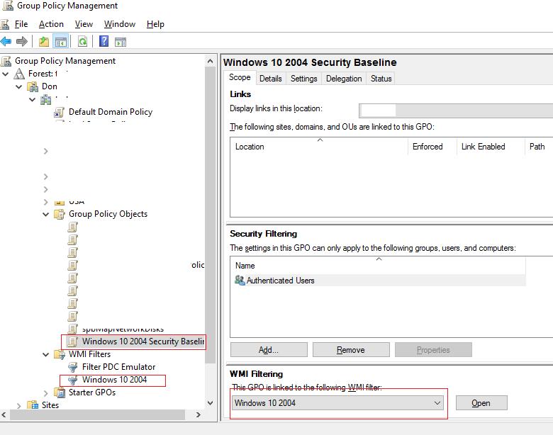 wmi фильтры для групповой политики security baseline