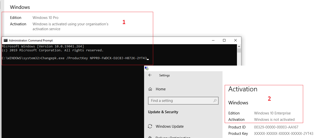 Changepk.exe /ProductKey  апгрейд Windows 10 Pro до Enterpise