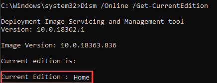 Dism.exe /Get-CurrentEdition windows 10 домашняя home
