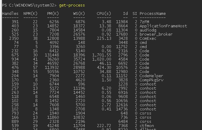 Get-Process список запушенных процессов
