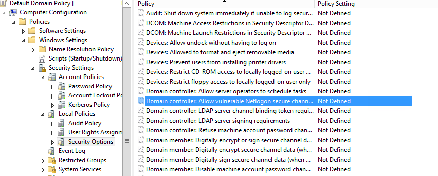 новая групповая политика Domain controller: Allow vulnerable Netlogon secure channel connections