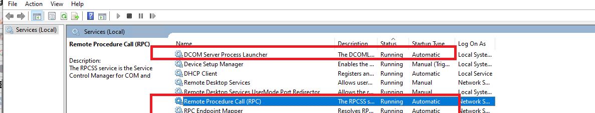 проверить, что службы RCP запущены в Windows