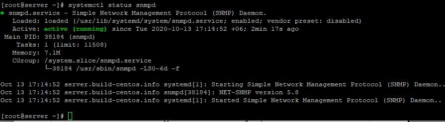 перевірка статусу служби snmpd в linux