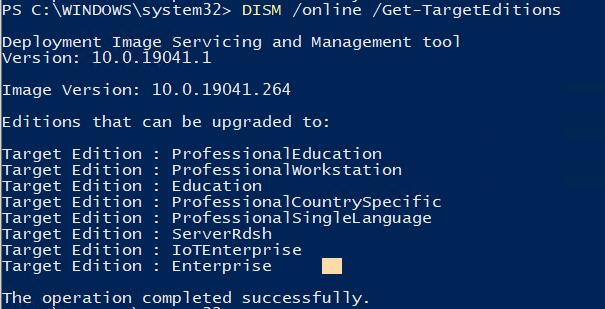 список редакций, до которых можно проапгрейдить Windows 10 Pro