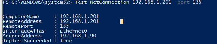 Test-NetConnection powershell перевірка TCP порт 135 служби RPC Endpoint Mapper