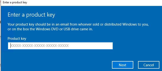 введите ключ продукта windows 10 pro