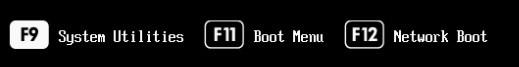 f9 - системное меню настройки сервера hpe при загрузке