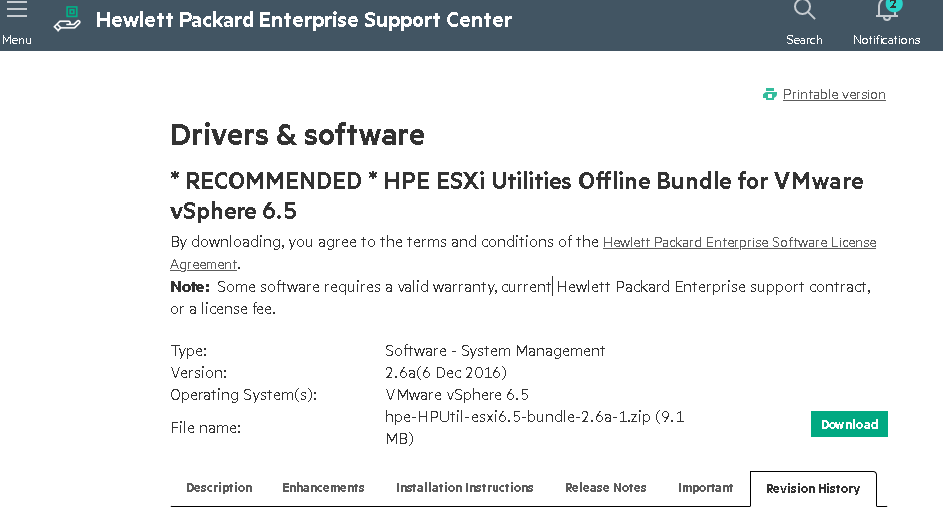 HPE ESXi Utilities Offline Bundle для ESXi