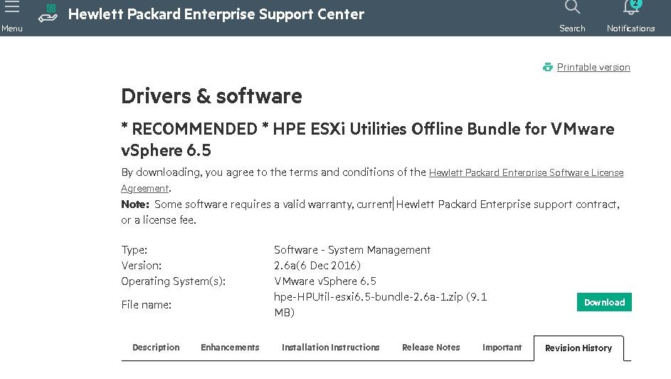 HPE ESXi Utilities Offline Bundle для ESXi