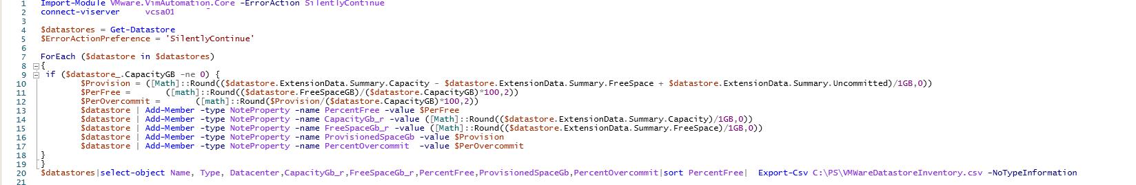 powershell скрипт для мониторинга места на vmware хранилищах в vSphere