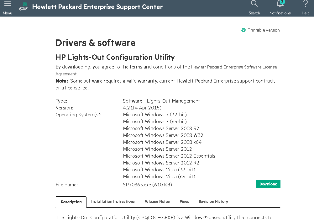 скачать и установить HP Lights-Out Configuration Utility на сервере HPE с Windows Server