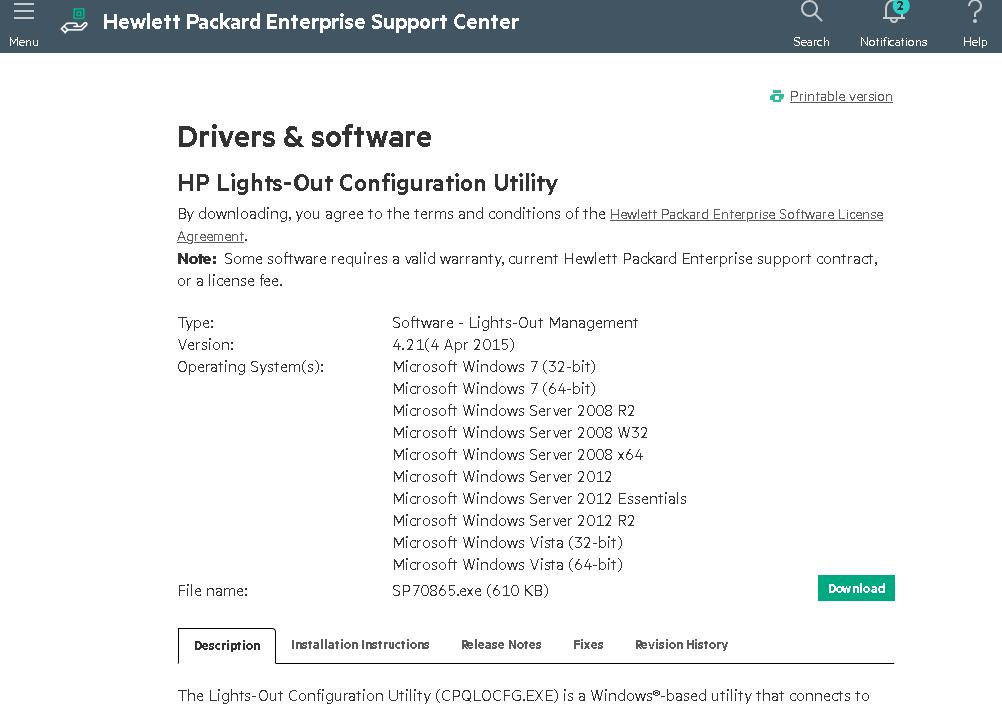 скачать и установить HP Lights-Out Configuration Utility на сервере HPE с Windows Server