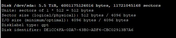 fdisk -l опредлеить новый диск в Linux
