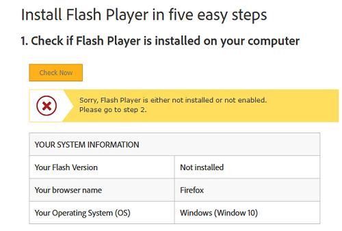 проверка наличия установленного flash player на компьютере