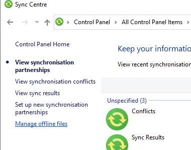 Управление автономными файлами в windows 10