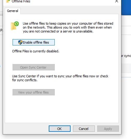 Включить автономные файлы в windows 10