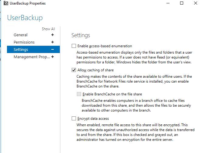 windows server 2016 ращрешить кэширование Allow caching of share