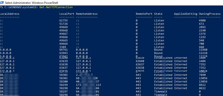 Get-NetTCPConnection - powershell командлет для получения списка сетевых подключений