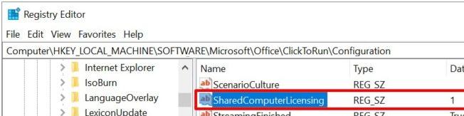 параметр реестра SharedComputerLicensing для office365 HKEY_LOCAL_MACHINE\SOFTWARE\Microsoft\Office\ClickToRun\Configuration