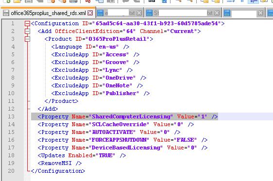 параметр SharedComputerLicensing в xml конфигурационном файле office365 c2r