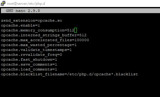 подключение модуля opcache в конфигурационном файле php.d